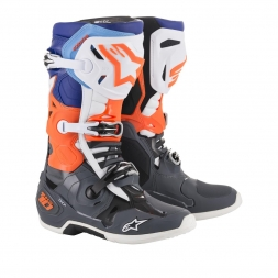Alpinestars Motocross-Stiefel Tech 10 2019 Cool Grey/Orange Fluo/Blau/Weiß