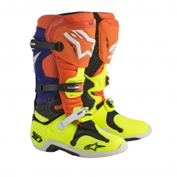 Alpinestars Motocross-Stiefel Tech 10 Fluo Orange/Blau/Weiß